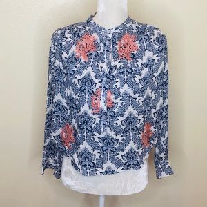 THML Blue Print Embroidered Blouse